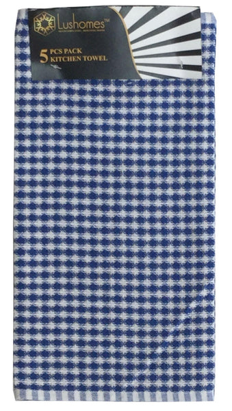 Lushomes Blue Mini Honey Comb Checks Cotton Kitchen Tea Dish Hand Towel Rags Linen Set (Pack of 5) - Lushomes