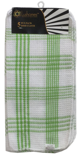 Lushomes Green Checked Dishcloths (Pack of 5) - Lushomes