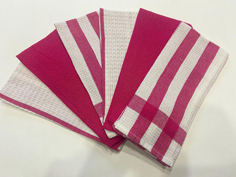 Lushomes Dark Pink Cotton Kitchen Tea Towels Napkins (38 x 58 cms, Pack of 6) - Lushomes