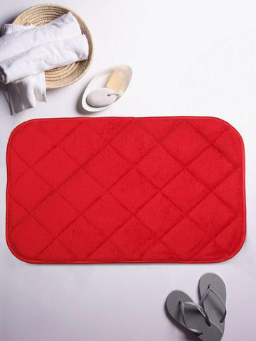 Lushomes Red Regular Ulra Soft Memory Foam Bathmat - Lushomes