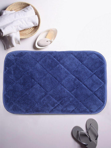 Lushomes Blue Cotton Regular Ulra Soft Memory Foam Bathmat - Lushomes