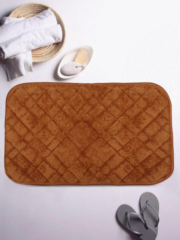 Lushomes Light Brown Cotton Regular Ulra Soft Memory Foam Bathmat - Lushomes