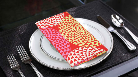 Lushomes Spiral Printed Cotton 6 Table Napkins Set (Dinner Napkins) - Lushomes