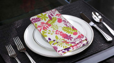 Lushomes Purple Rain Printed Cotton 6 Table Napkins Set (Dinner Napkins) - Lushomes