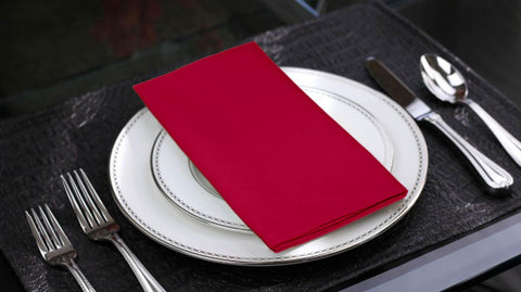 Lushomes Rasberry Cotton Plain 6 Table Napkins Set (Dinner Napkins) - Lushomes