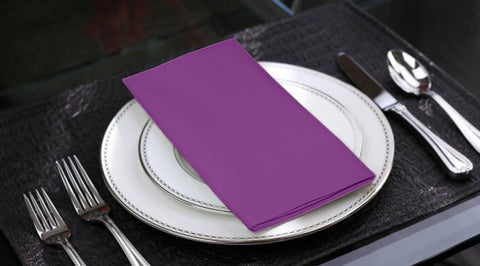 Lushomes Royal Lilac Cotton Plain 6 Table Napkins Set (Dinner Napkins) - Lushomes