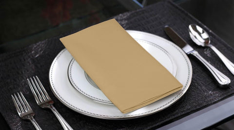 Lushomes Sand Cotton Plain 6 Table Napkins Set (Dinner Napkins) - Lushomes