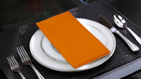 Lushomes Sun Orange Cotton Plain 6 Table Napkins Set (Dinner Napkins) - Lushomes