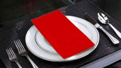 Lushomes Tomato Cotton Plain 6 Table Napkins Set (Dinner Napkins) - Lushomes
