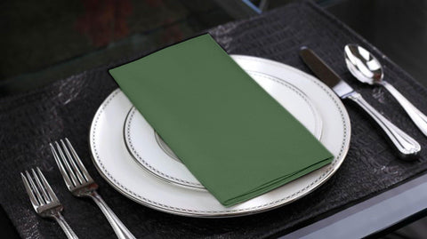 Lushomes Vineyard Green Cotton Plain 6 Table Napkins Set (Dinner Napkins) - Lushomes