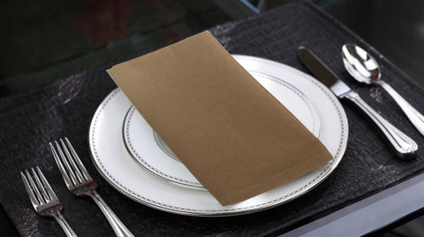 "Lushomes Sand Cotton Plain Dinner Napkins Set (6 pcs) Size: 16""x16"" - Lushomes"