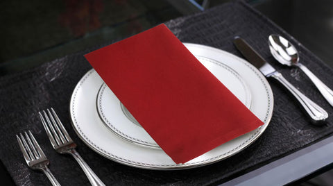 "Lushomes Red Cotton Plain Dinner Napkins Set (6 pcs) Size: 16""x16"" - Lushomes"