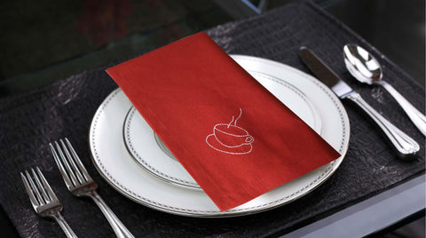 Lushomes Light Red Embroidered Cotton napkins with Rich motives (100 % Cotton, Pack of 6, 40 x 40 cms) - Lushomes