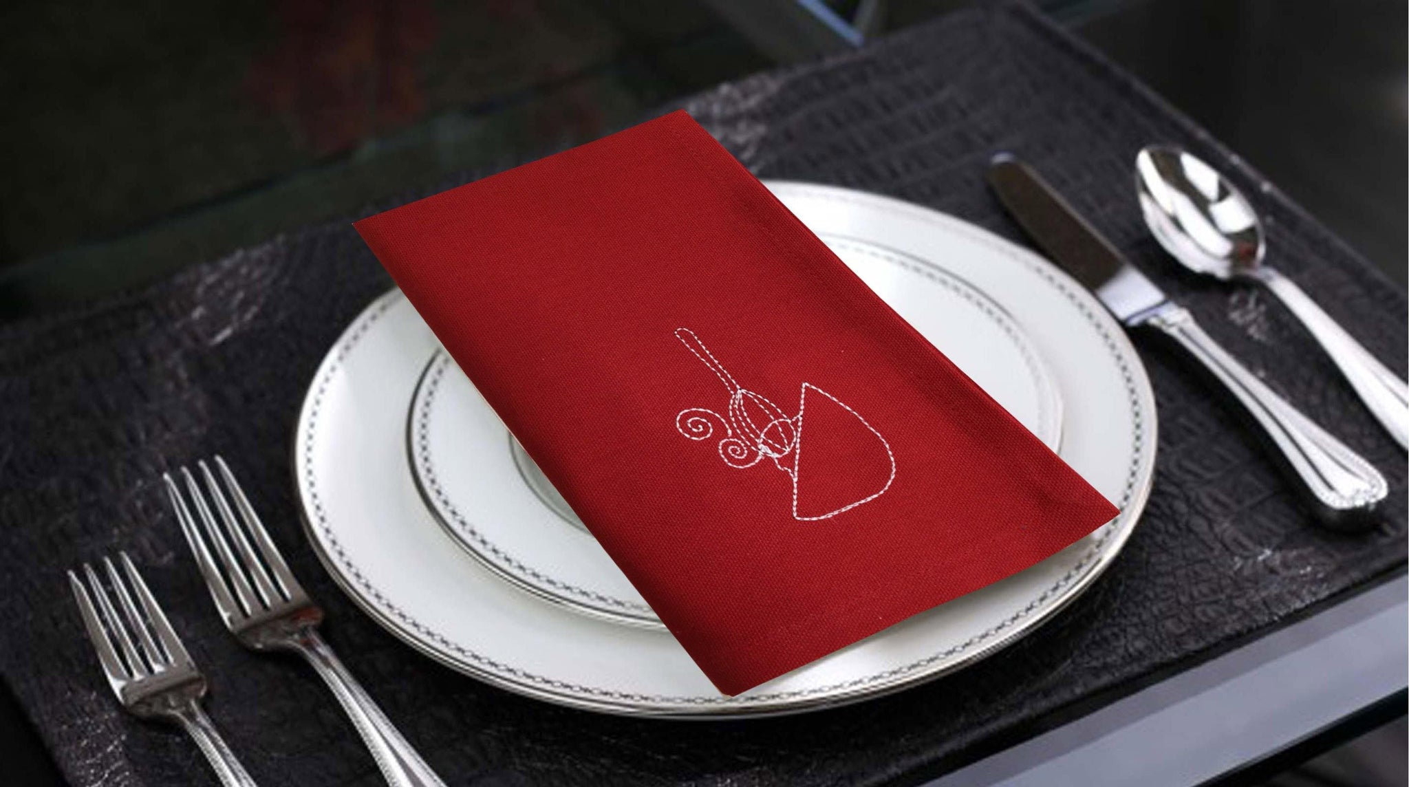 Lushomes Dark Red Embroidered Cotton napkins with Rich motives (100 % Cotton, Pack of 6, 40 x 40 cms) - Lushomes