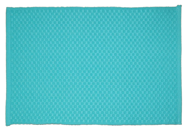 Lushomes Turquoise 6 Cotton Mats & 6 Plain Cotton Napkins (12 pcs) - Lushomes
