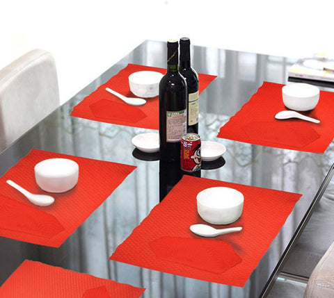 Lushomes Red 6 Cotton Mats & 6 Plain Cotton Napkins (12 pcs) - Lushomes