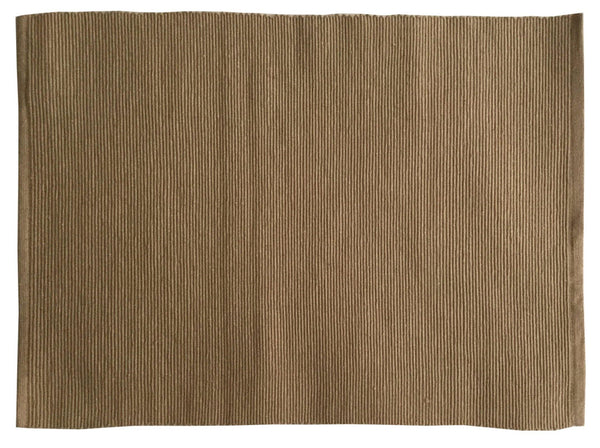 Lushomes Set of 6 Ribbed Beige Cotton Table Mats - Lushomes