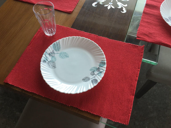 Lushomes Set of 6 Ribbed Red Cotton Table Mats - Lushomes