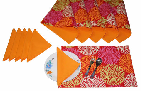 Lushomes Spiral Print 6 Reversible Cotton Mats & 6 Plain Cotton Napkins - Lushomes