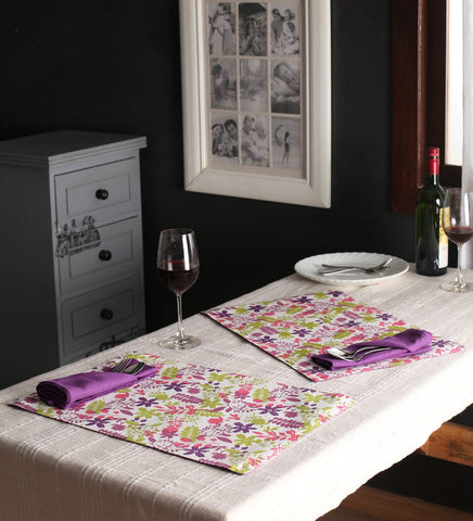 Lushomes Purple Rain Print 6 Reversible Cotton Mats & 6 Plain Cotton Napkins - Lushomes