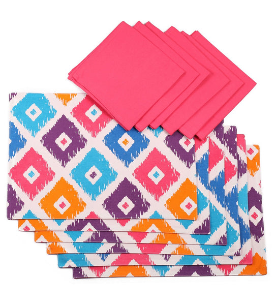 Lushomes Square Print 6 Reversible Cotton Mats & 6 Plain Cotton Napkins - Lushomes