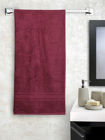 "Lushomes Red Plum Super soft and fluffy Cotton Turkish Bath towel (Size 35"" x 71""�, Single Pc, 450GSM) - Lushomes"