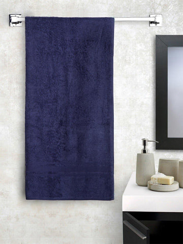 "Lushomes Navy Super soft and fluffy Cotton Turkish Bath towel (Size 35"" x 71""�, Single Pc, 450GSM) - Lushomes"