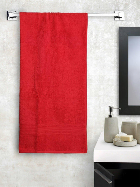 "Lushomes Hibiscus Red Super Soft and Fluffy Cotton Turkish Bath towel Size 24"" x 48""� (60 x 120 cms, single pc) - Lushomes"