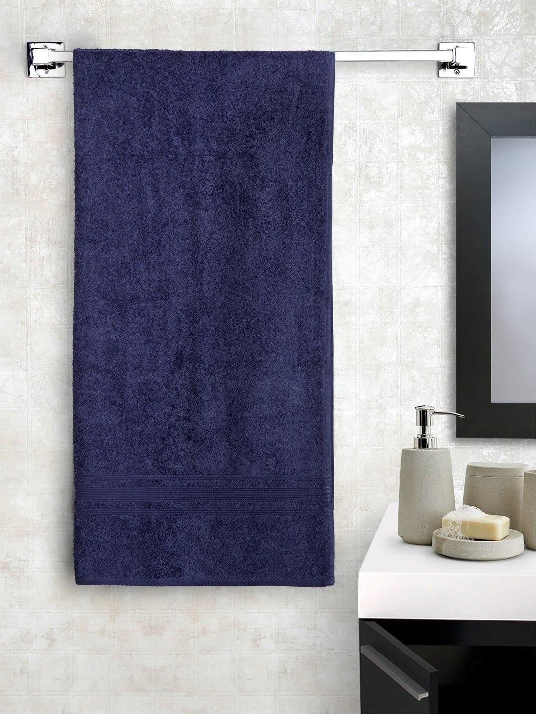 "Lushomes Navy Super Soft and Fluffy Cotton Turkish Bath towel Size 24"" x 48""� (60 x 120 cms, single pc) - Lushomes"