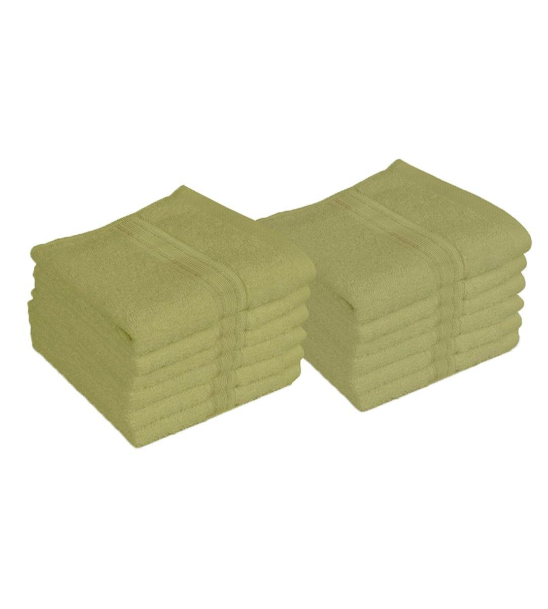 "Lushomes Shadow Green Super Soft and Fluffy Cotton Face Cloth Towel (Size 12 x 12""•À?, Pack of 12 Pcs, 450 GSM)"