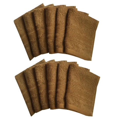 "Lushomes Olive Brown Super Soft and Fluffy Cotton Face Cloth Towel (Size 12 x 12"", Pack of 12 Pcs, 450 GSM) - Lushomes"