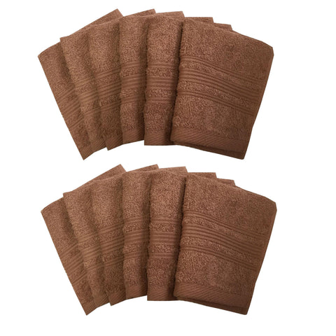 "Lushomes Light Brown Super Soft and Fluffy Cotton Face Cloth Towel (Size 12 x 12"", Pack of 12 Pcs, 450 GSM) - Lushomes"
