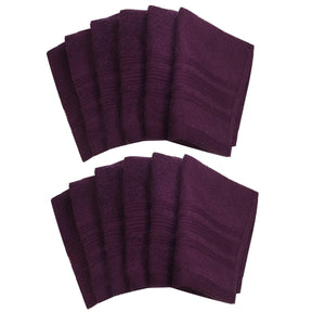 "Lushomes Dark Purple Super Soft and Fluffy Cotton Face Cloth Towel (Size 12 x 12"", Pack of 12 pcs, 450 GSM) - Lushomes"