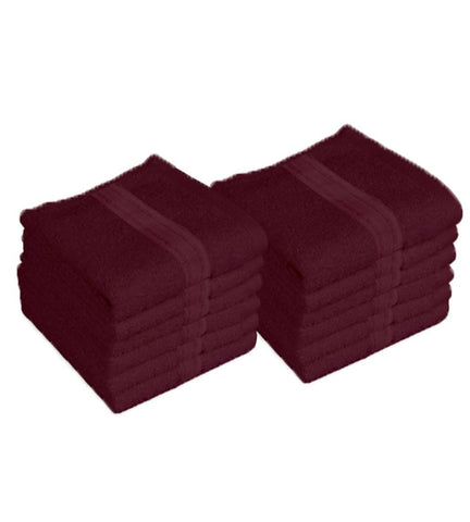"Lushomes Red Plum Super Soft and Fluffy Cotton Face Cloth Towel (Size 12 x 12""•À?, Pack of 12 pcs, 450 GSM)"