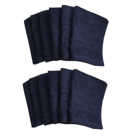 "Lushomes Navy Super Soft and Fluffy Cotton Face Cloth Towel (Size 12 x 12"", Pack of 12 Pcs, 450 GSM) - Lushomes"