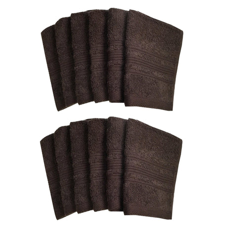 "Lushomes Chocolate Brown Super Soft and Fluffy Cotton Face Cloth Towel (Size 12 x 12"", Pack of 12 Pcs, 450 GSM) - Lushomes"