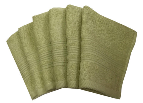 "Lushomes Shadow Green Super Soft and Fluffy Cotton Face Cloth Towel (Size 12 x 12"", Pack of 6 Pcs, 450 GSM) - Lushomes"