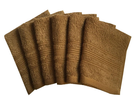 "Lushomes Olive Brown Super Soft and Fluffy Cotton Face Cloth Towel (Size 12 x 12"", Pack of 6 Pcs, 450 GSM) - Lushomes"