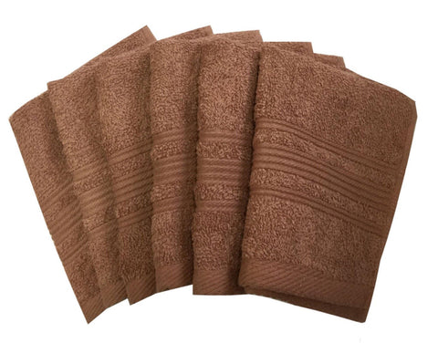 "Lushomes Light Brown Super Soft and Fluffy Cotton Face Cloth Towel (Size 12 x 12"", Pack of 6 Pcs, 450 GSM) - Lushomes"