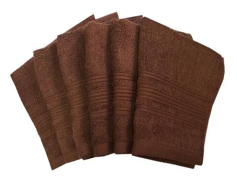"Lushomes Brown Super Soft and Fluffy Cotton Face Cloth Towel (Size 12 x 12""�, Pack of 6 Pcs, 450 GSM) - Lushomes"