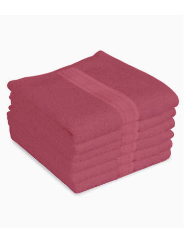 "Lushomes Peony Pink Super Soft and Fluffy Cotton Face Cloth Towel (Size 12 x 12"", Pack of 6 Pcs, 450 GSM)"