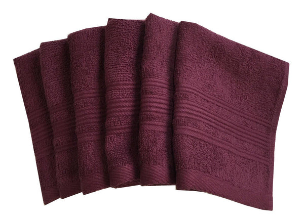 "Lushomes Maroon Super Soft and Fluffy Cotton Face Cloth Towel (Size 12 x 12"", Pack of 6 Pcs, 450 GSM) - Lushomes"