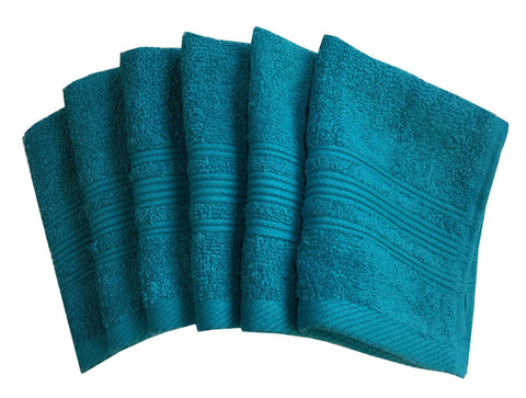 "Lushomes Blue Bird Super Soft and Fluffy Cotton Face Cloth Towel (Size 12 x 12""�, Pack of 6 Pcs, 450 GSM) - Lushomes"