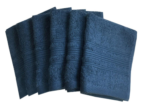 "Lushomes Ink Blue Super Soft and Fluffy Face Towel (Size 12 x 12"", Pack of 6 Pcs, 450 GSM) - Lushomes"