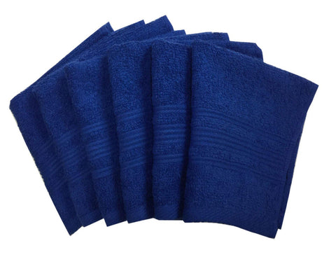 "Lushomes Nautical Blue Super Soft and Fluffy Cotton Face Cloth Towel (Size 12 x 12"", Pack of 6 Pcs, 450 GSM) - Lushomes"