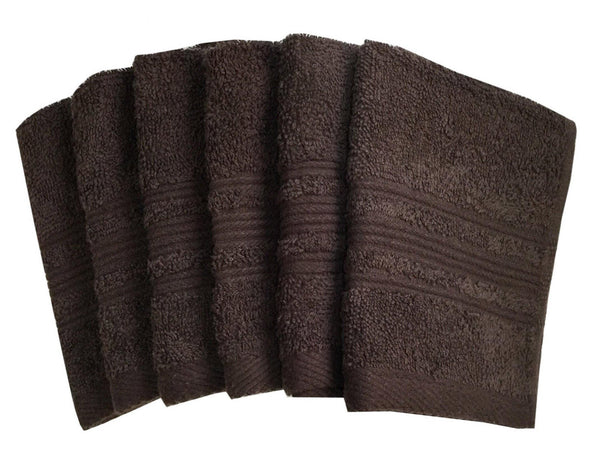 "Lushomes Chocolate Brown Super Soft and Fluffy Face Cloth Towel (Size 12 x 12""�, Pack of 6 pcs, 450 GSM) - Lushomes"