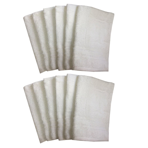 Lushomes Off-White Super Soft and Fluffy Cotton Hand Towel Set (Size: 40 x 60 cms, Pack of 12, 450 GSM) - Lushomes