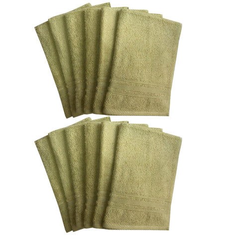 Lushomes Shadow Green Super Soft and Fluffy Cotton Hand Towel Set (Size: 40 x 60 cms, Pack of 12, 450 GSM) - Lushomes