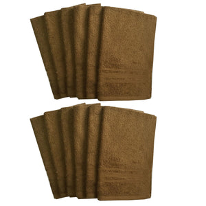 Lushomes Olive Brown Super Soft and Fluffy Cotton Hand Towel Set (Size: 40 x 60 cms, Pack of 12, 450 GSM) - Lushomes