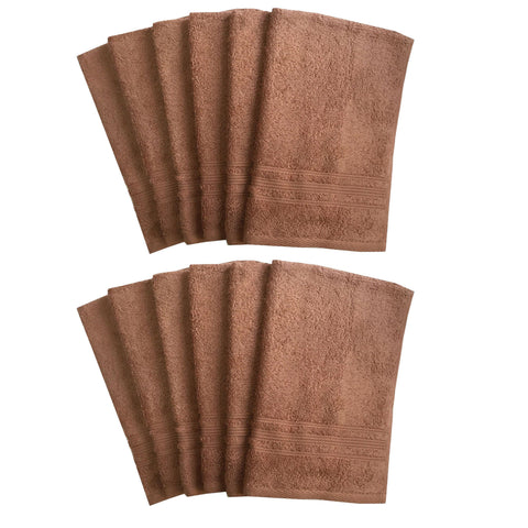 Lushomes Light Brown Super Soft and Fluffy Cotton Hand Towel Set (Size: 40 x 60 cms, Pack of 12, 450 GSM) - Lushomes